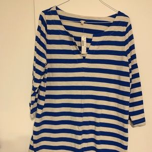 JCrew beach tunic in royal and cream stripe